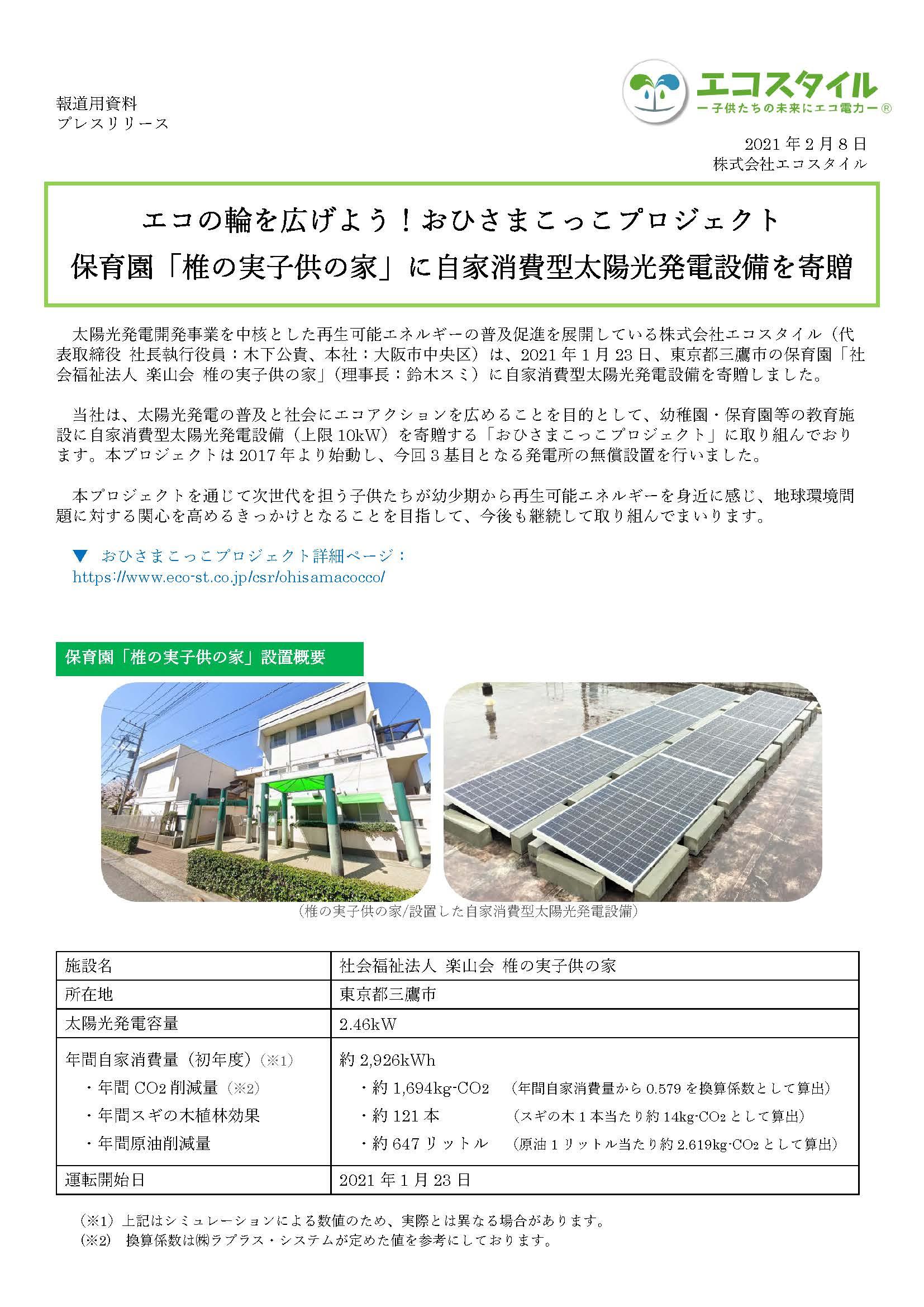 エコの輪を広げよう!おひさまこっこプロジェクト 保育園「椎の実子供の家」に自家消費型太陽光発電設備を寄贈