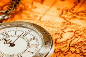 世界地図と時計